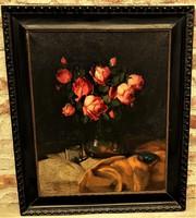 Murin Vilmos (1891 - 1952) Virág csendélet című olajfestménye 84x70cm EREDETI GARANCIÁVAL !!