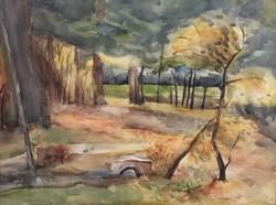 Klie Zoltán- Patakpart 30 x 40 cm akvarell, papír