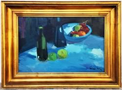 Áron Nagy Lajos (1913 - 1987) Csendélet c. Képcsarnokos olajfestmény 77x57cm EREDETI GARANCIÁVAL !