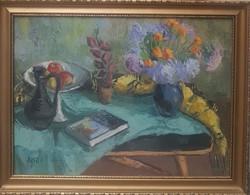 Arató István  (1922-2010)  Csendélet Picasso Könyvel