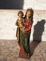 Mária szobor faragott festett fa 20 cm.