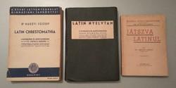 Latin Chrestomathia (1940), Latin nyelvtan (1932) és Játszva latinul (1943) régi tankönyvek eladók
