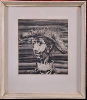 Szász Endre (1926-2003): Férfiportré, Monotípia