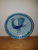 Iparművészeti retro kerámia madár, páva motívum.