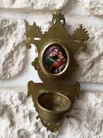 Régi réz szenteltvíztartó porcelán Mária képpel falidísz