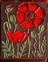 Pipacsos kerámia falikép