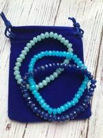 3db csodaszép, kék kristály karkötő