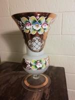 Biedermeier kézzel festett üveg váza