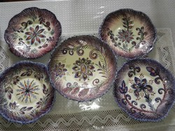 Csodás, egyedi, kézműves, kerámia gyümölcsös tál 4 tányérral+ 1 ajándék.