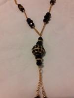Különleges, fekete, alkalmi, fazettált üveg gyöngyös nyaklánc