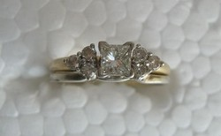 14 Karátos sárga és fehér arany 0.42 Karátos Gyémánt Gyűrű