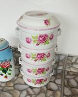 Extrém ritka antik Zsolnay Rózsás,rózsa mintával porcelán,ételhordó,ételes.Gyűjtői darab.Ritkaság