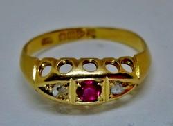 Szépséges antik rubin és gyémánt  arany gyűrű