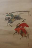 Lovas szamurájok - Japán akvarell festmény falitekercs eladó