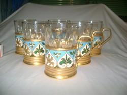 Orosz teás csésze pohártartók vagy alátétek pohárral - 6 személyes készlet