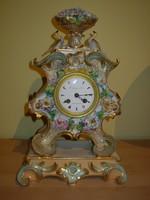 Ritka Francia porcelán kandallóóra 1850 körüli