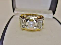 Csodálatos  antik art deco arany gyűrű gyönggyel és 0.6ct gyémánttal