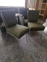Retro chrome frame, bauhaus, art deco salon set, 2 chairs, 2 armchairs, sofa bed