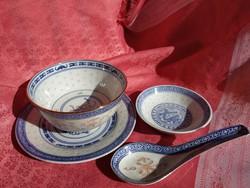 Kínai 4 db.-os porcelán reggeliző