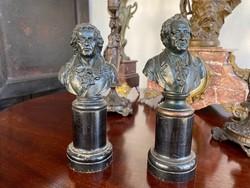 Schiller és Goethe Antik Bronz Szobor Páros