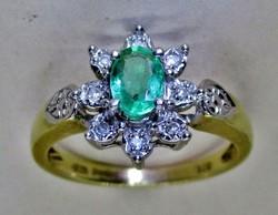 Gyönyörű 0.4ct valódi smaragd  és 0.12ct brill  arany gyűrű