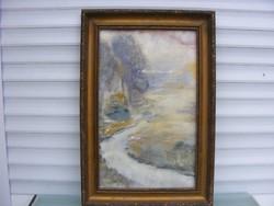 Olvashatatlan signo Erdei út akvarell fa keretben cca1950