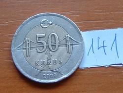 TÖRÖK 50 KURUS 2009 BOSZPORUSZ HÍD BIMETÁL 141.