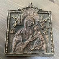 Régi orosz bronz úti ikon