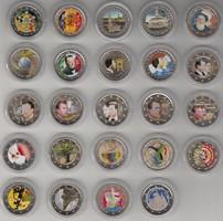 2 eurós érmék, érme szines