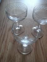 Likőrös régi szép pohár 3 darab.  10 cm magas