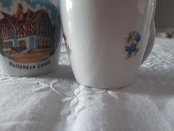Hollóházi váza, kiöntő, csésze egyben