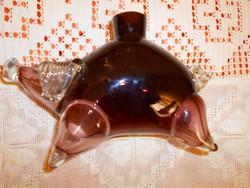 Különleges szép  kézműves munka -malac alakú vastag üveg palack-