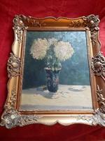 Berta Gy antik vastagon festett olajfestmény.