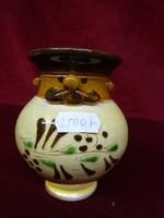 Kézzel festett mázas kerámia váza, 10 cm magas. Miska kancsó.