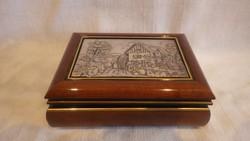 925 ezüst , jelzett tetős doboz , ékszertartó
