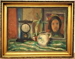 Gádor Emil (1911 - 1998) Csendélet c. Képcsarnokos festménye 90x70cm EREDETI GARANCIÁVAL !!
