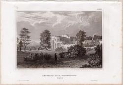 Brougham Hall, acélmetszet 1859, Meyers Universum, eredeti, 10 x 16 cm, Westmorland, Anglia
