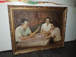 Szabó Lajos (1927-1995), Munkácsy-díjas festőművész, kártyázók, kb.20x30+keret