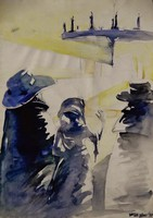Sós Melinda : Kalapos pár, akvarell