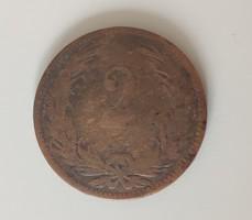 Magyar Királyi Váltópénz 2 fillér 1897