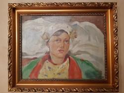 Krusnyák Károly szecessziós női portré