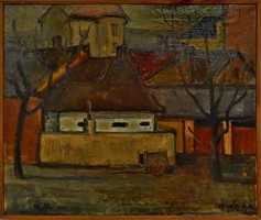 Gádor Emil : Falusi utca ,olajfestmény