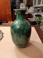 Nagyméretű, 32 cm-es zöldmázas kerámia váza