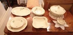 Zöld virágmintás porcelán készlet 13 db, leveses tállal 4 személyes