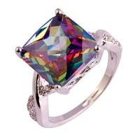 Gyönyörű mystic topáz köves, 925 jelzésű gyűrű 9