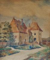 Magyar festő : Napos utca , akvarell
