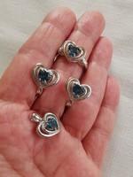 London kék topáz 925 ezüst szett, gyűrű 54-es