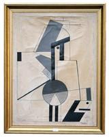 Kassák Lajos large constructivist oil-canvas painting