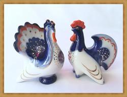 Ritka orosz Lomonoszov porcelán kakas és pulyka , együtt eladó !