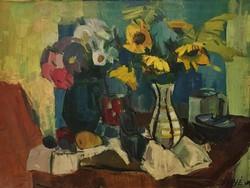 Séday Éva : Sárga virágok,olajfestmény